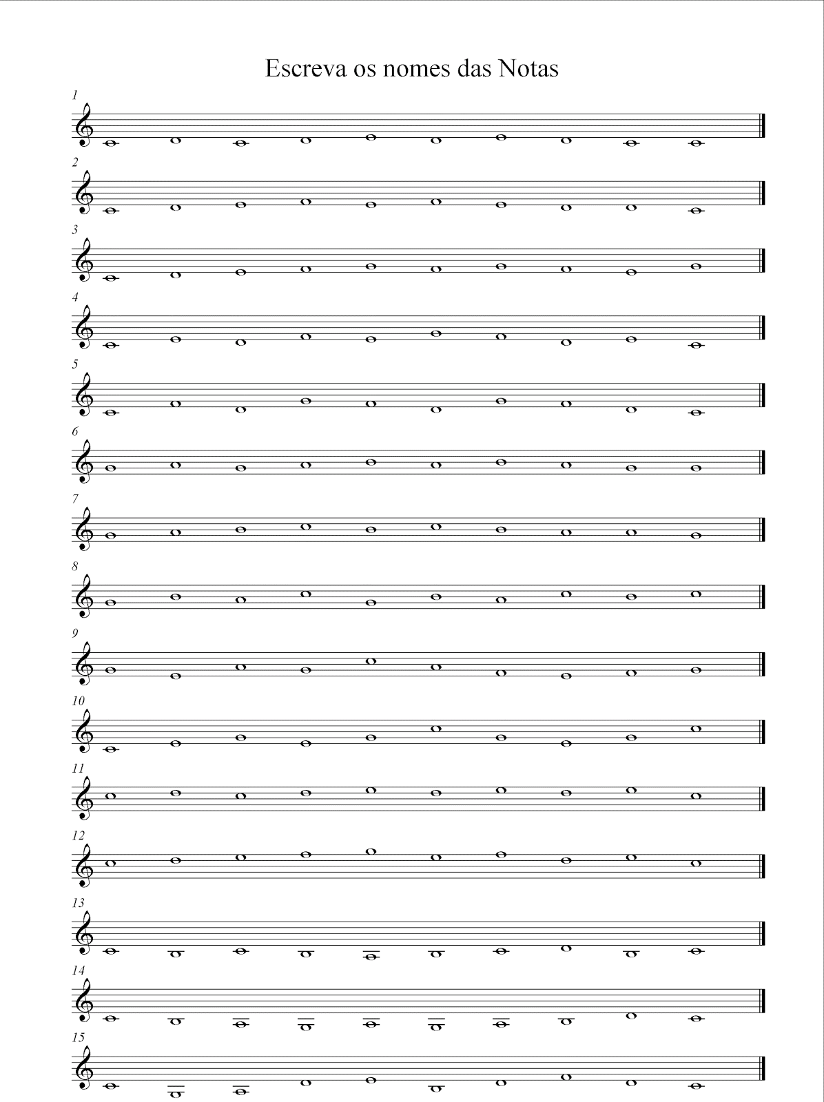 Licmus Notas Em Clave De Sol