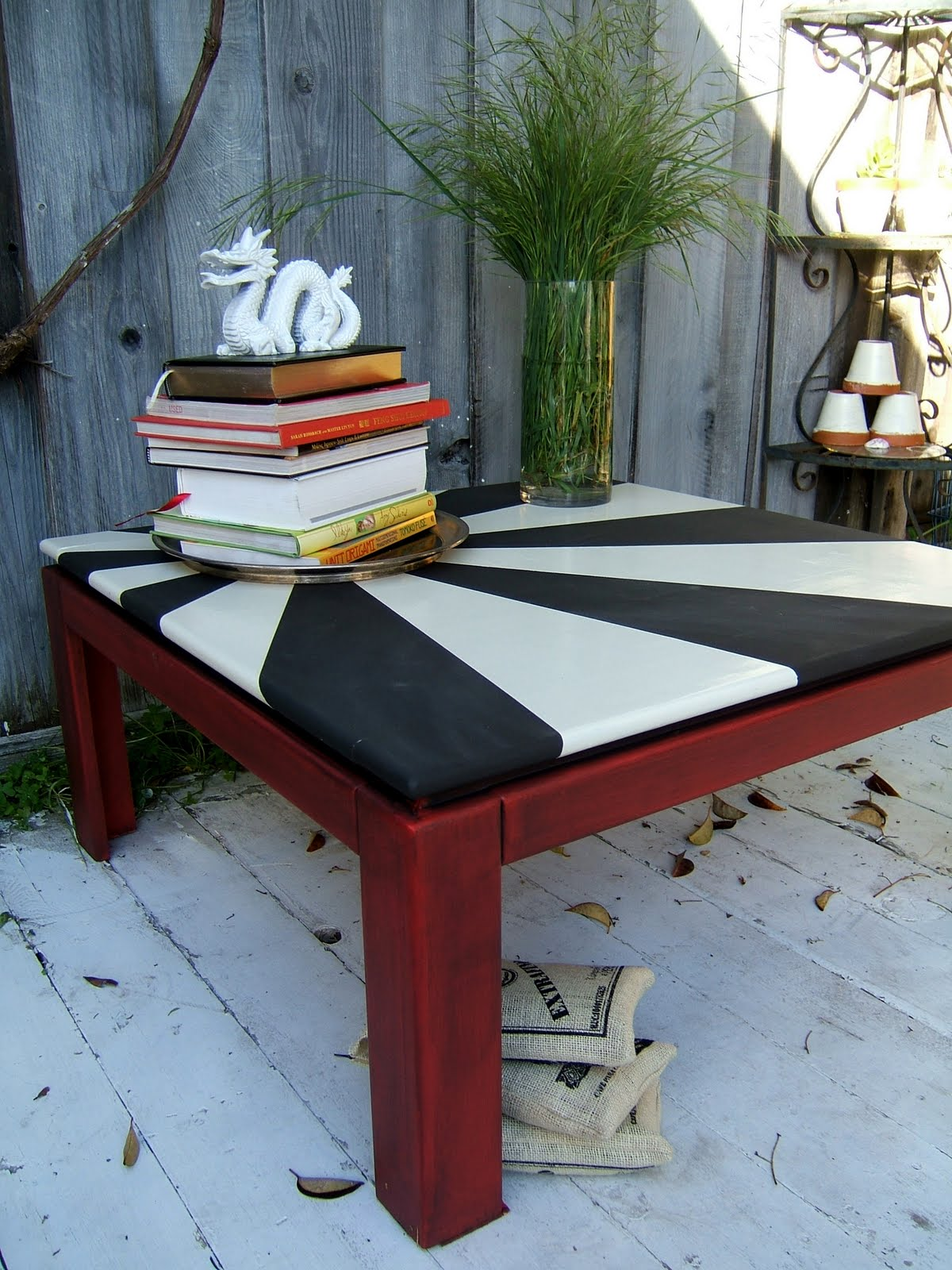 Nine Red Japanese Rising Sun Coffee Table