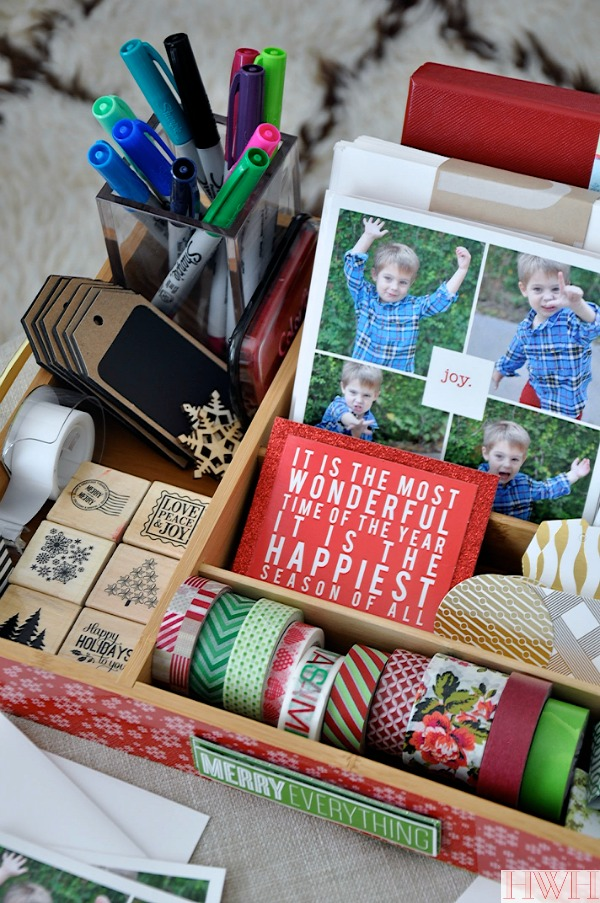 Holiday card caddy - all your supplies in one place using a silverware tray! | Honey We're Home