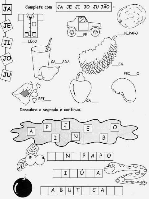 frutas com J, caju,Atividades com a letra J.Ensino Fundamental, Atividades para imprimir, Alfabetização, Letras, 1º ano.