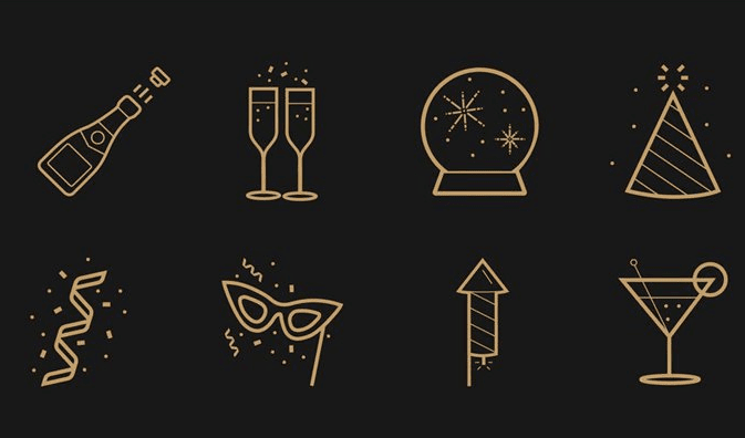 Free Icons For New Year's Eve (AI)