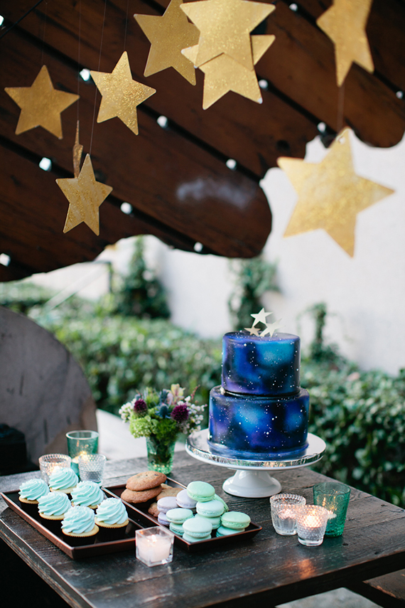 Dessert Table | Starry Night Peter Pan Baby Shower | via Sweet Tooth