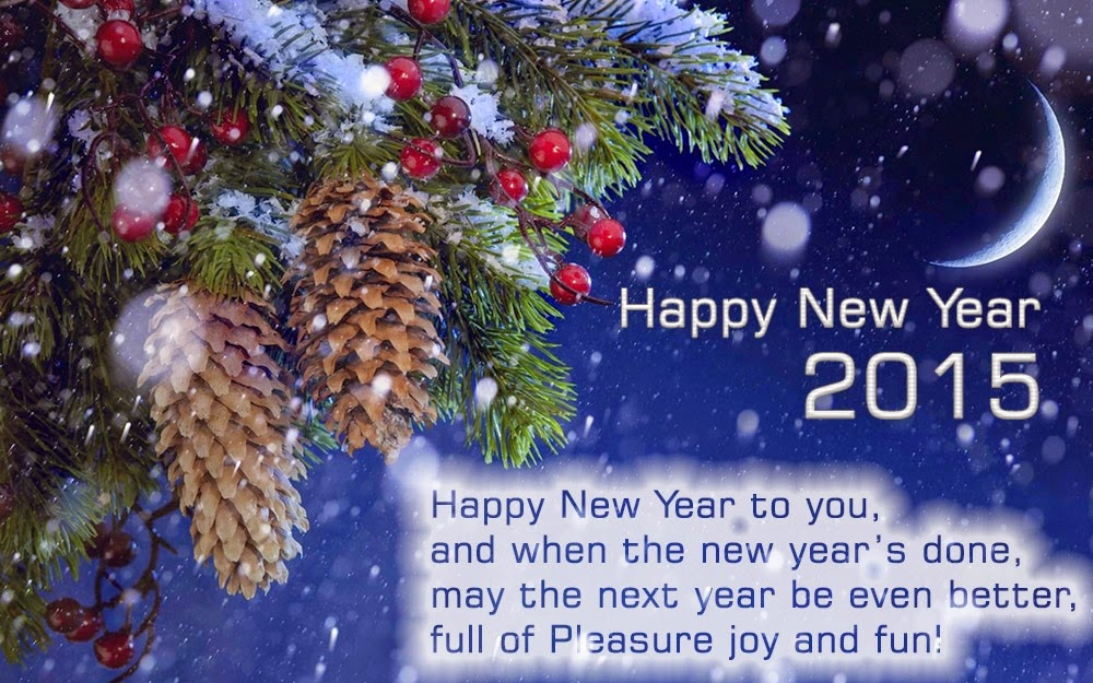 Christmas Tree Balls Snow New Year 2015 Greeting Wishes eCard