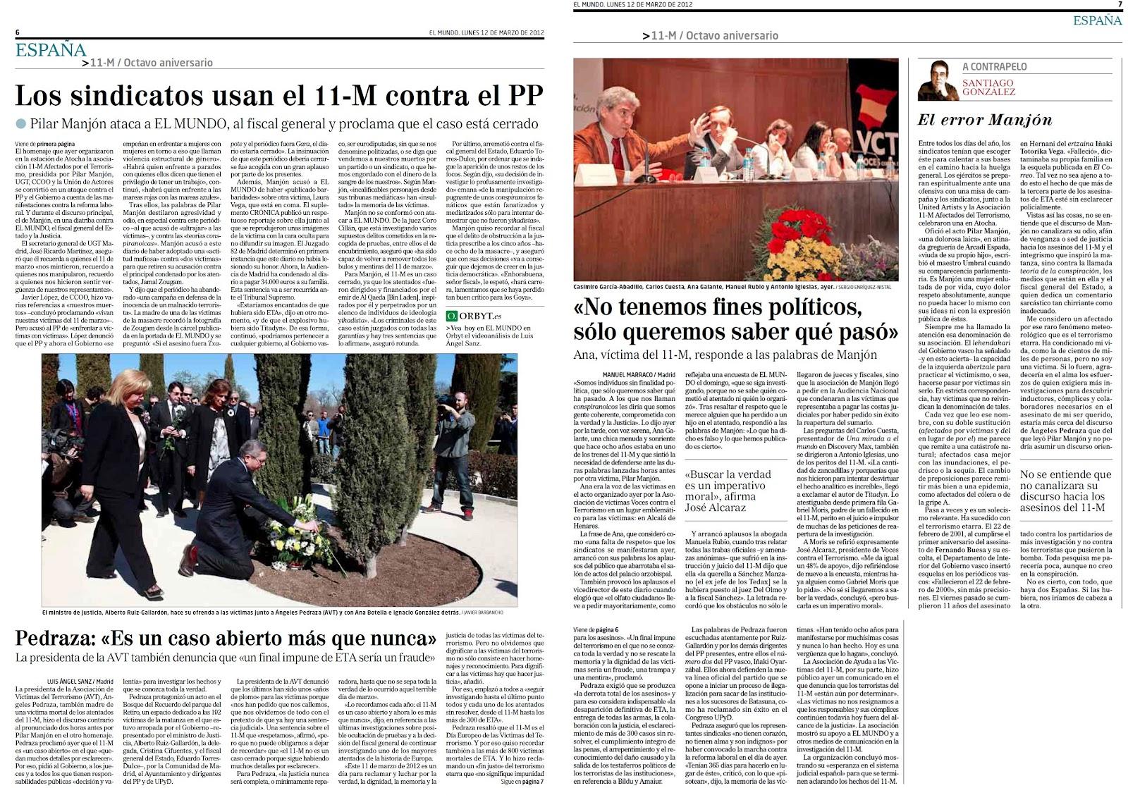 Los sindicatos y la Manjon envilecen el octavo aniversario del 11-M utilizándolo políticamente para sus abyectos fines