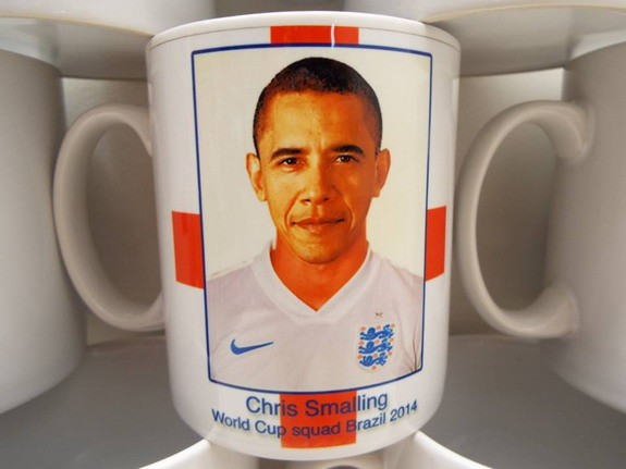 D'oh! US President Barack Obama mistaken for Chris Smalling on England souvenir mug