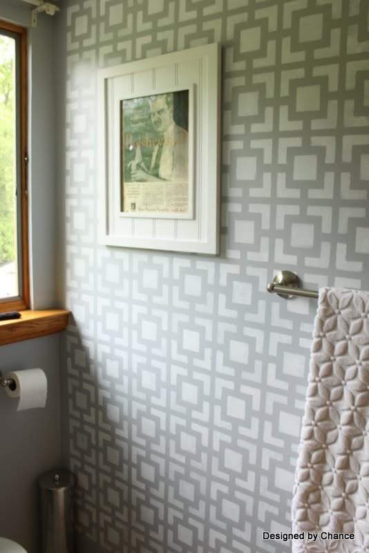 Designed By Chance Stenciled Bathroom Wall