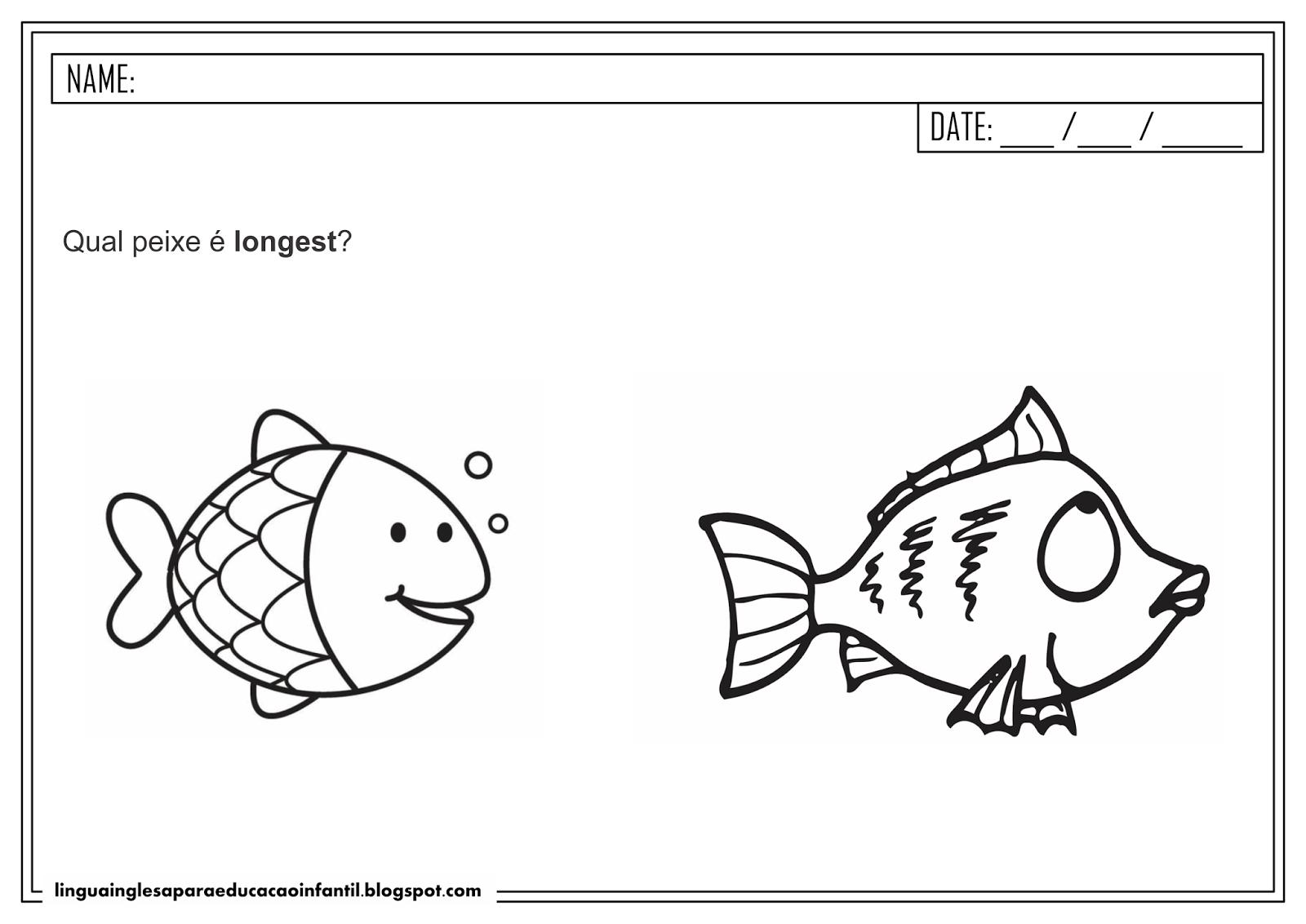 Atividade de Inglês - 'Short' e 'Long'