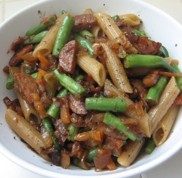 penne with sausage and green beans