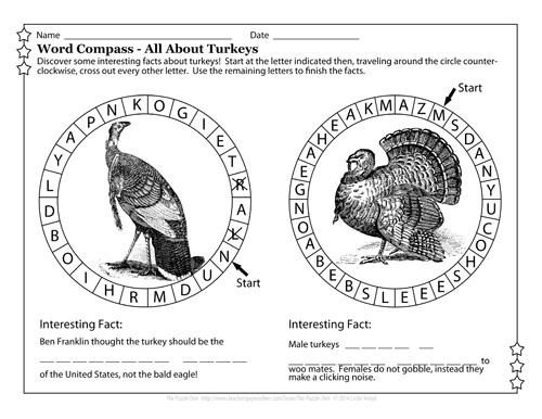 Word Compass Puzzle - All About Turkeys