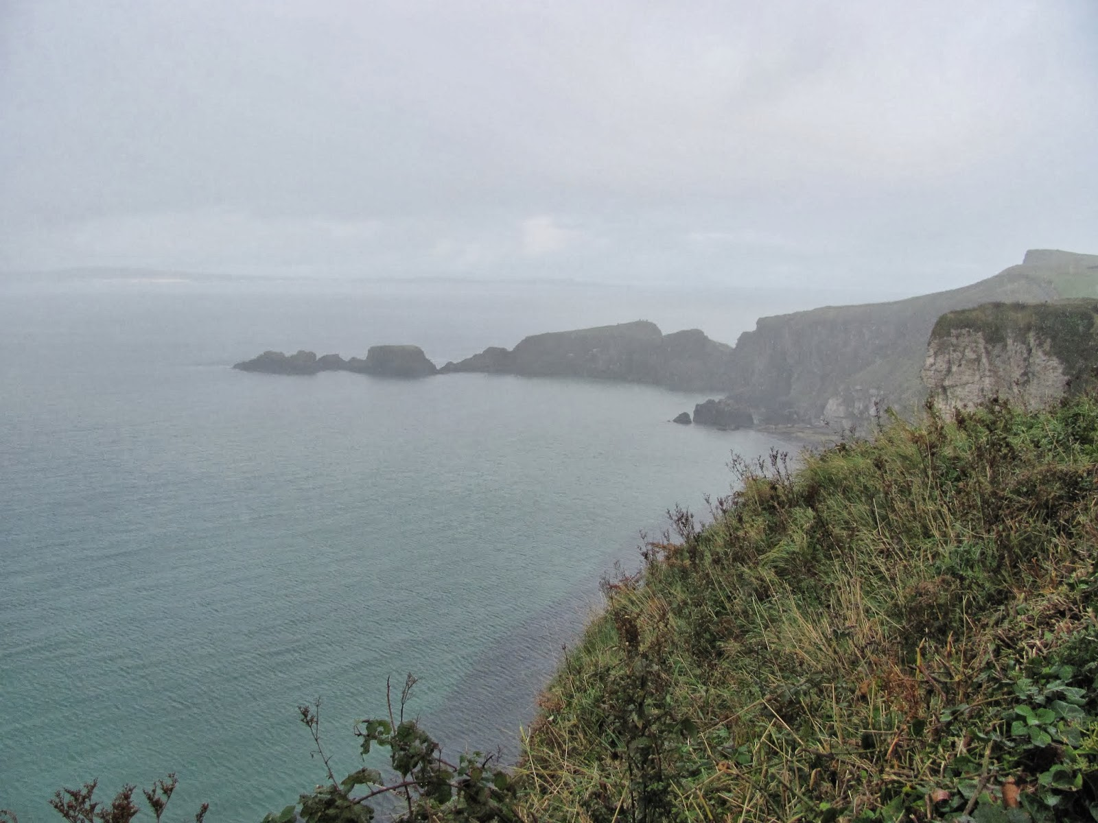 A look at the small islands from a distance at the Carrick-A-Rede Rope Bridge, Northern Ireland