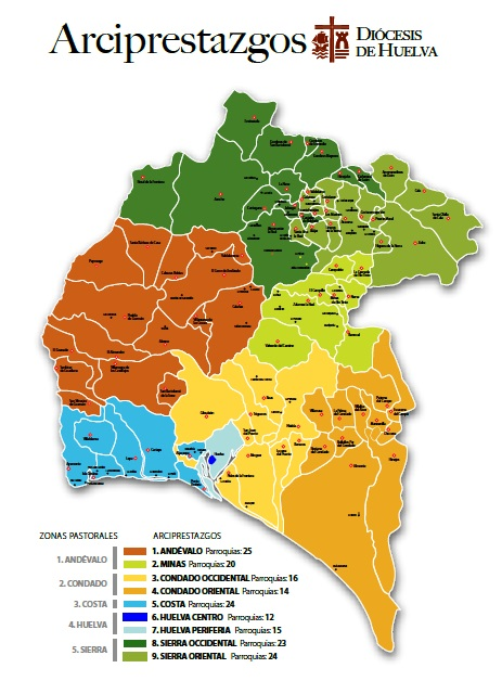 Arciprestazgos de Huelva. Mapa
