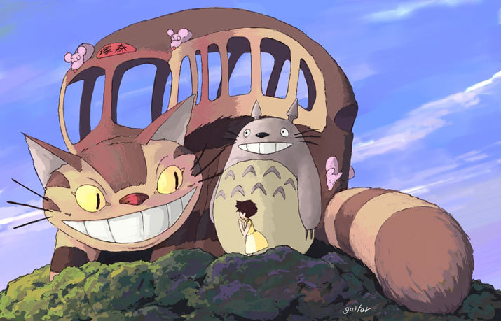 The catbus in My Neighbor Totoro 1988 animatedfilmreviews.blogspot.com
