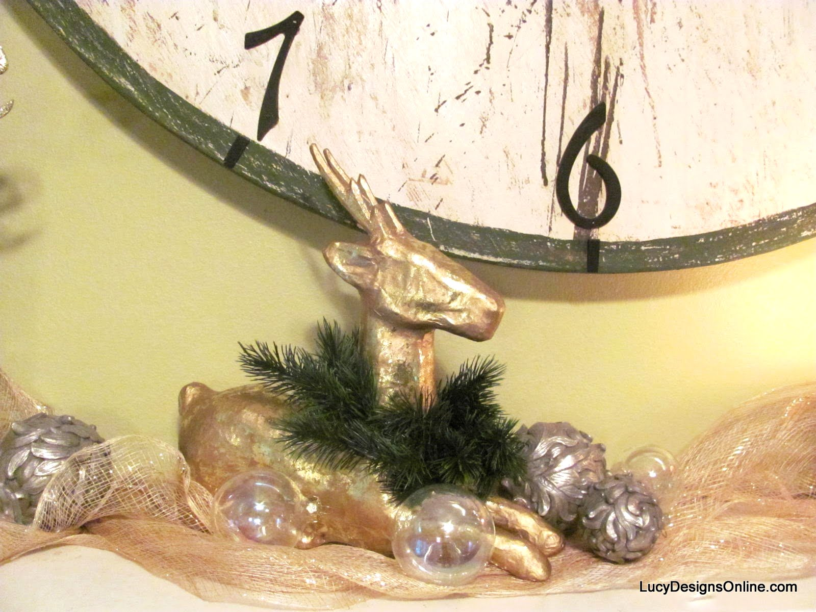 gold paper mache deer decoration