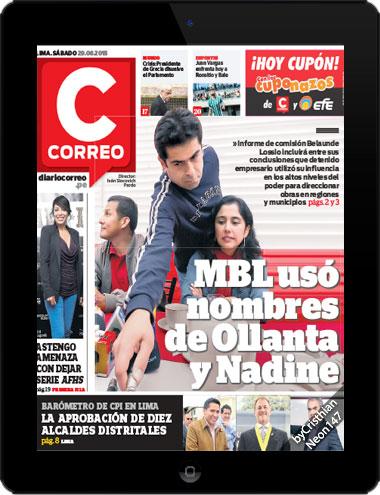 Diario Correo Perú (29 Agosto 2015) ESPAÑOL - MBL us+o nombres de Ollanta y Nadine