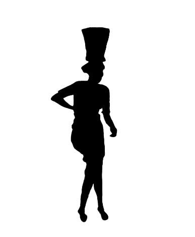 silhouette of tribal woman carrying water
