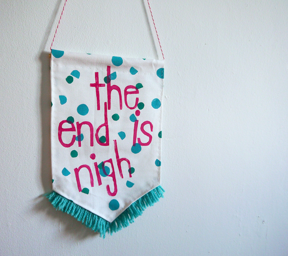 Craft Sunday, crafting, diy, Dundee, DCA, Dundee Contemporary Arts, Nikki McWilliams, workshop, craft workshop, fabric banners, decoration, printing, fabric printing, the end is nigh, bedroom, fringing