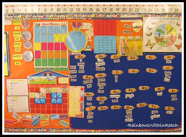 photo of: Kindergarten Word Wall Bulletin Board Amid Calendar + Other Poster