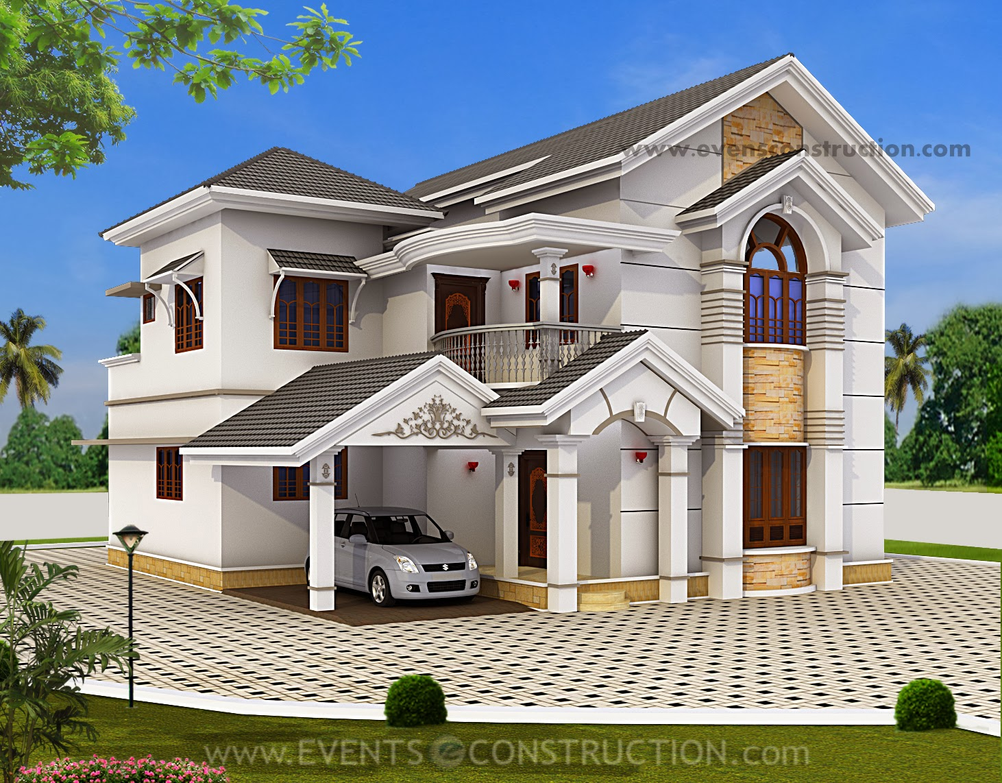 Evens construction pvt ltd 5 bedroom house elevation with for Indian bungalow designs photo gallery