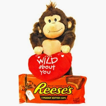 Valentine's Wild Plush Monkey and 1 Pound Reese's Candy Bar