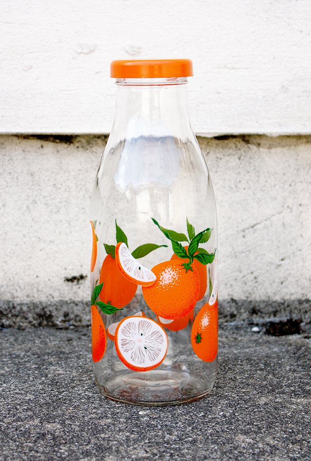 vintage french orange bottle
