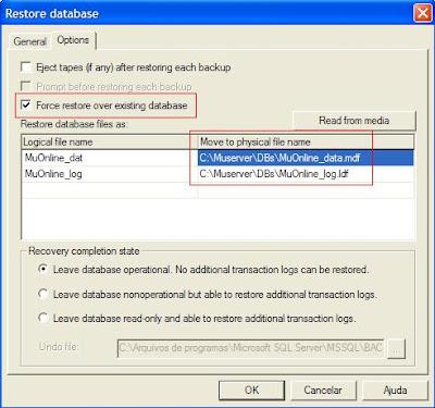 Restaurando databases
