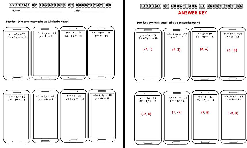 Worksheet Matching Cell Phone Texting : The math magazine systems of equations substitution