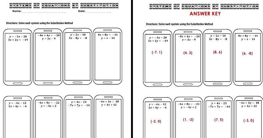 The Math Magazine Systems of Equations Substitution Worksheet – Solving Equations by Substitution Worksheet