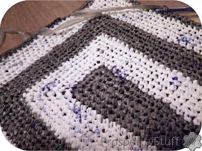 Plastic grocery bag yarn crochet rug