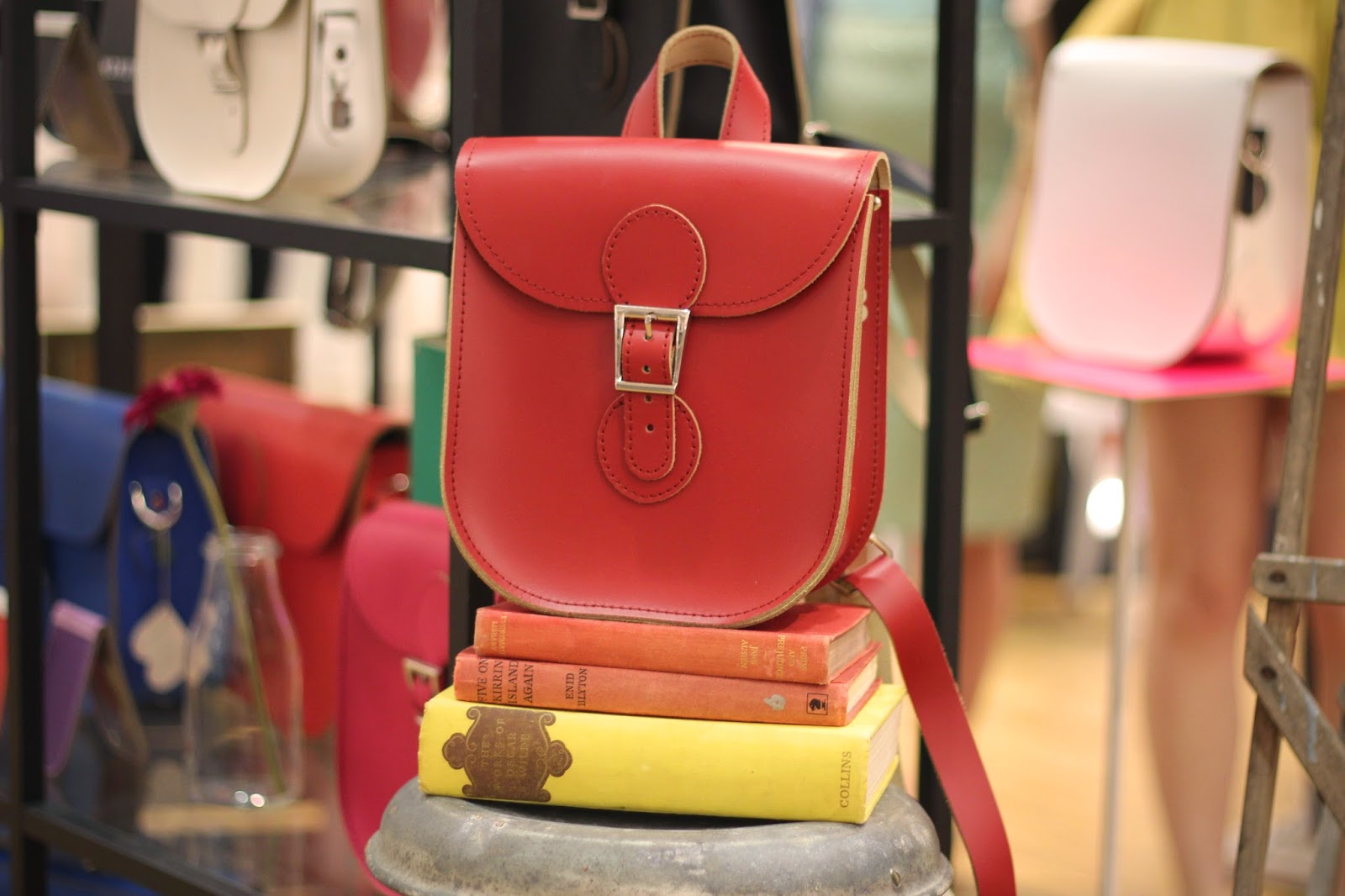 Red Leather Brit Stitch Satchel Backpack