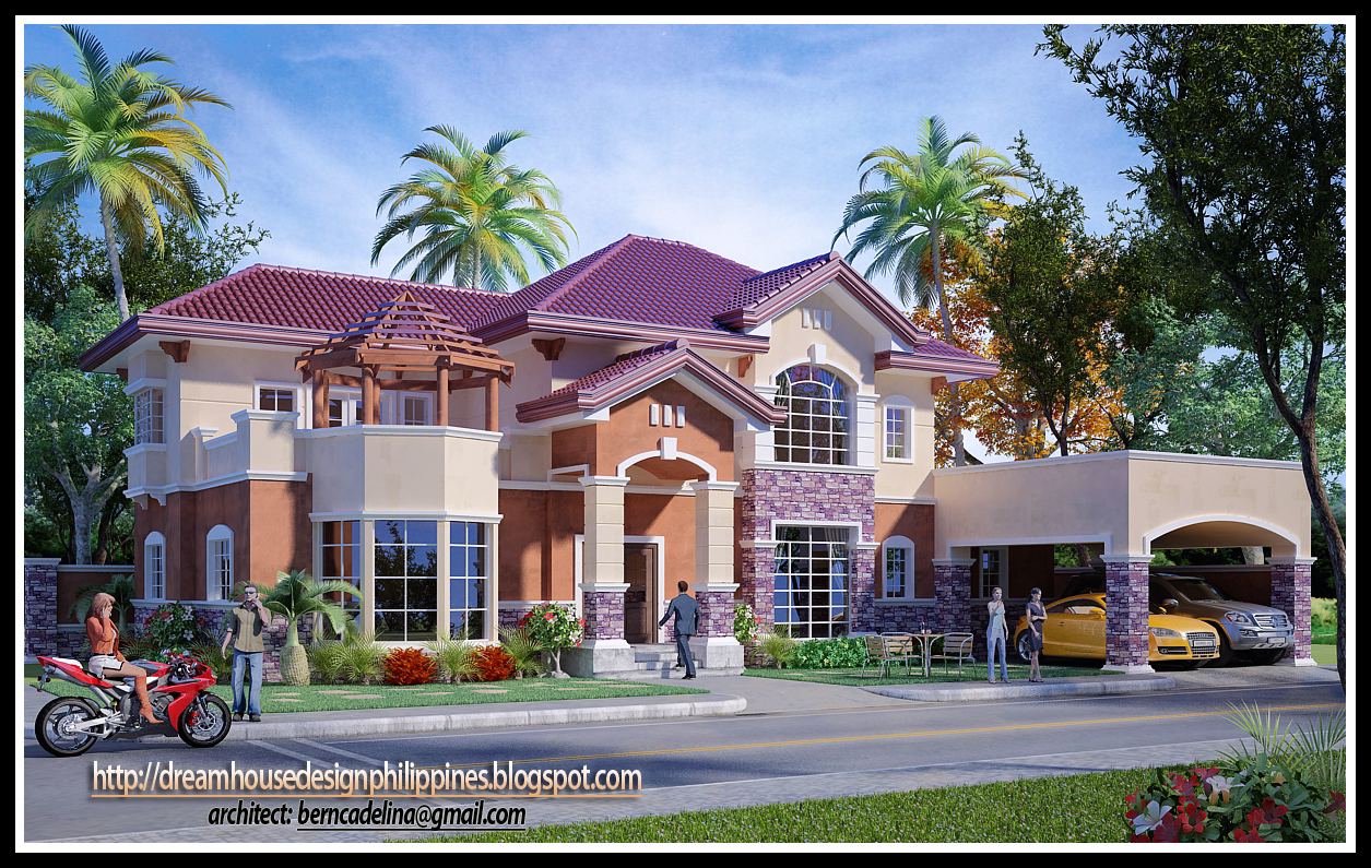 This Mediterranean house design is a product of 3d studio max software