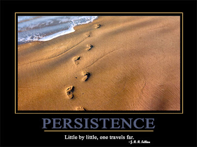Persistence  Little by little, one travels far.