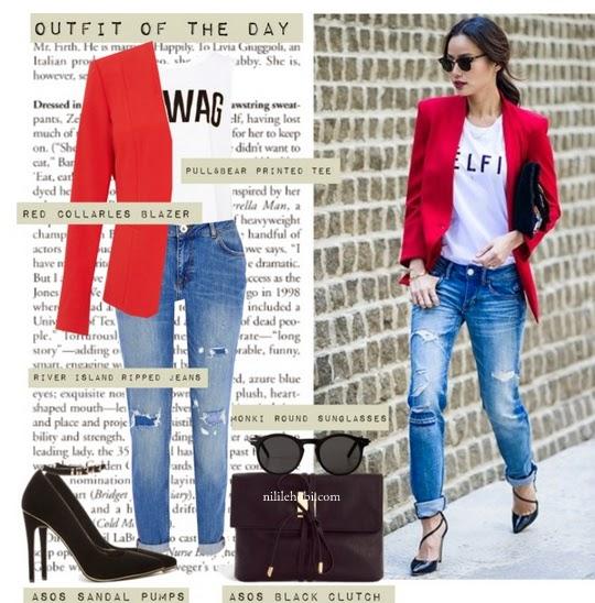 Kırmızı Ceket Kombini