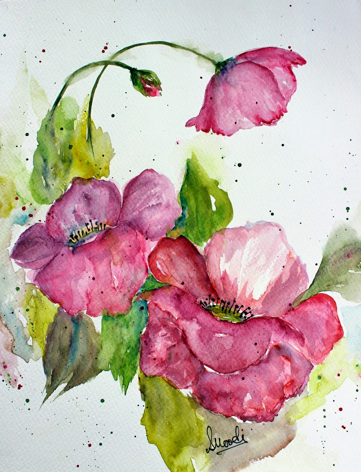 blooming, blooms, painting, print, poster, flowers, bold, beautiful, watercolors, pink, large, petals, paint
