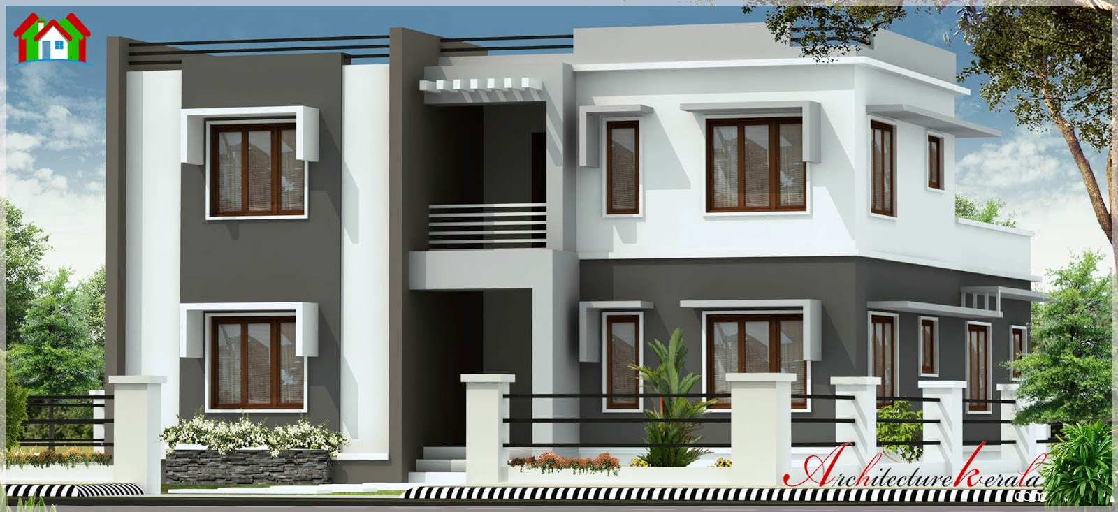 2500 square feet contemporary style kerala house elevation for Contemporary style homes in kerala