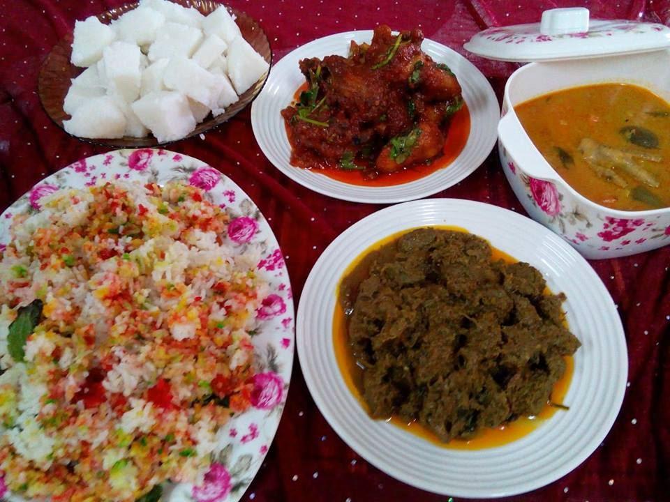 Nasi hujan panas, resepi aidil adha, lontong, ayam masak merah, rendang, dalca sayur.