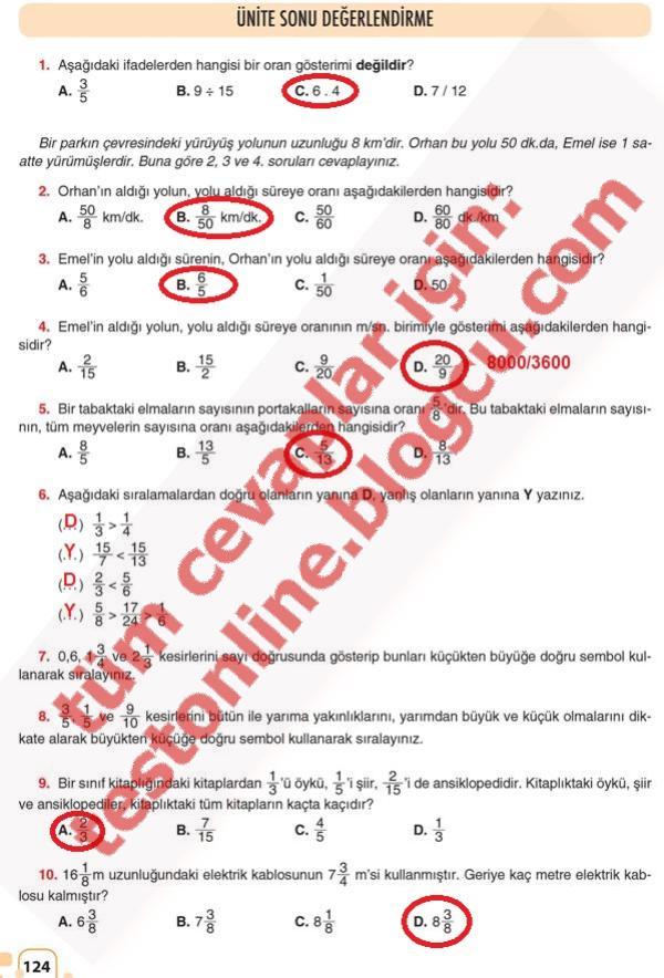 sayfa 124 cevapları