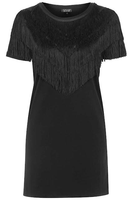 black fringe dress, black tassel dress topshop,