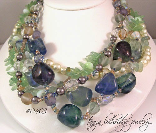 Fluorite & Aquamarine Gemstone Five-Strand Necklace