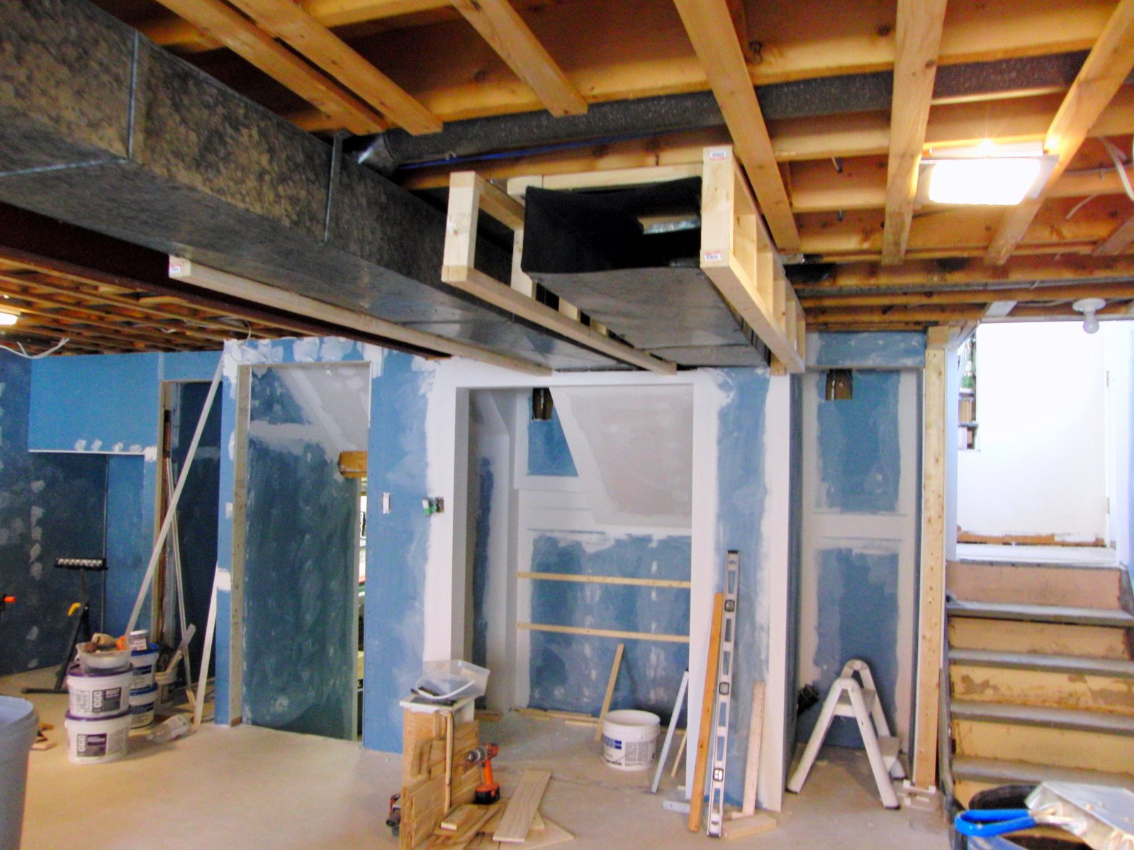 framing around the ductwork and also the shelf supports that i added