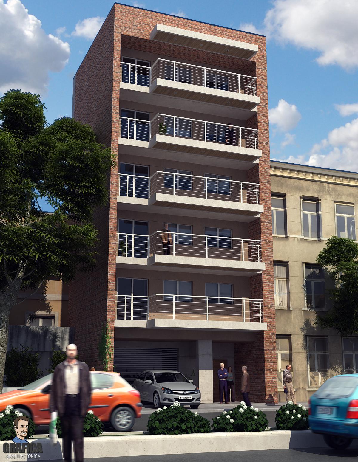 Practica exterior edificio en altura grafica for Exterior edificios