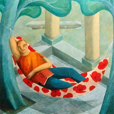 illustration by CarlosC.Lainez of a man having his naptime in a hammock
