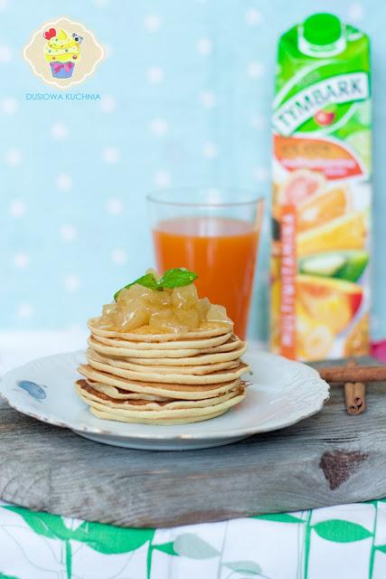 placuszki z prażonymi jabłkami, pancakes z jabłkami, placuszki, pancakes, prazone jabłuszka
