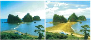 Terjadinya pasang-surut air dapat menyebabkan pengikisan pantai. (Sumber: Ensiklopedia IPTEK)