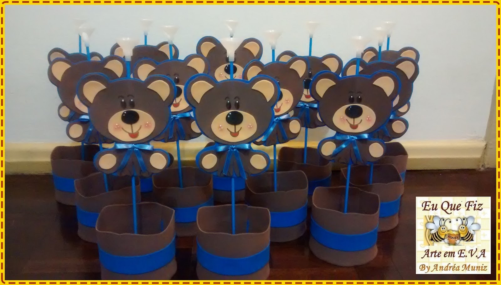 Eu que fiz  Arte em EVA e Recursos Pedagógicos]··´¯) Chá de bebe Ursinho # Decoracao Para Banheiro De Escola Em Eva