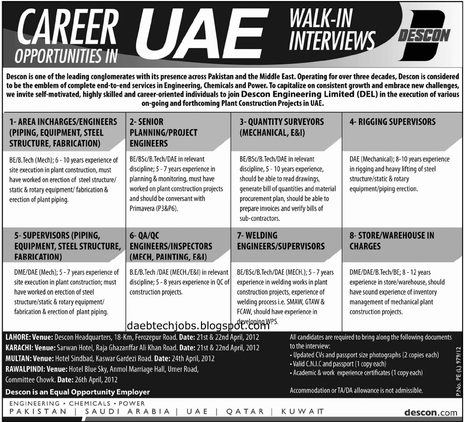 DAE BTech Electrical Instrument Mechanical Jobs In UAE DESCON
