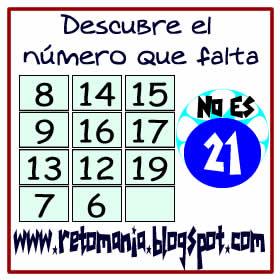 Retos matemáticos, Desafíos matemáticos, Problemas de lógica, Problemas para pensar, Descubre el número, Cuál es el número que falta