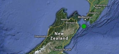 Epicentro sísmo 6,5 grados en Nueva Zelanda, 21 de Julio 2013