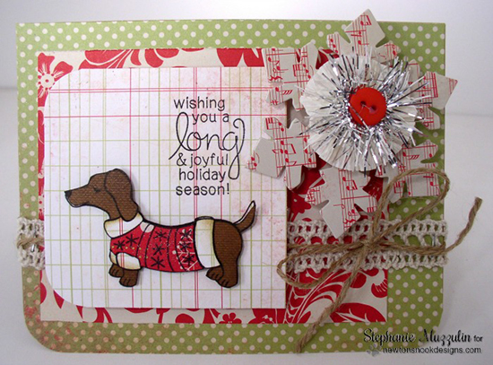 Doxie Christmas card by Stephanie Muzzulin for Newton's Nook Designs - Holiday Hounds Stamp Set