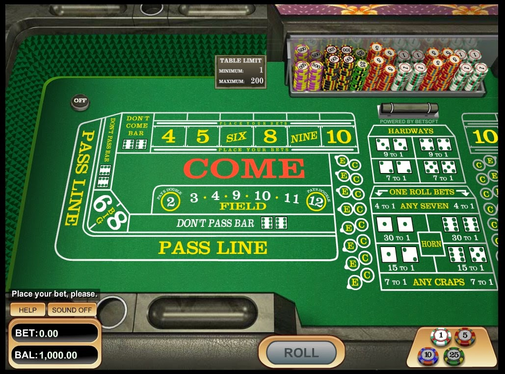 Sample craps game