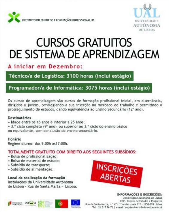 Cursos subsidiados de formação inicial para jovens – Lisboa (equivalentes ao 12º ano)